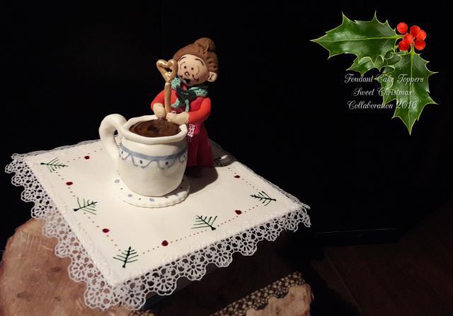 Vrouwtje theelepel in kerstsfeer