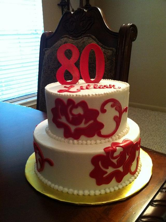 Red Floral 80th Birthday