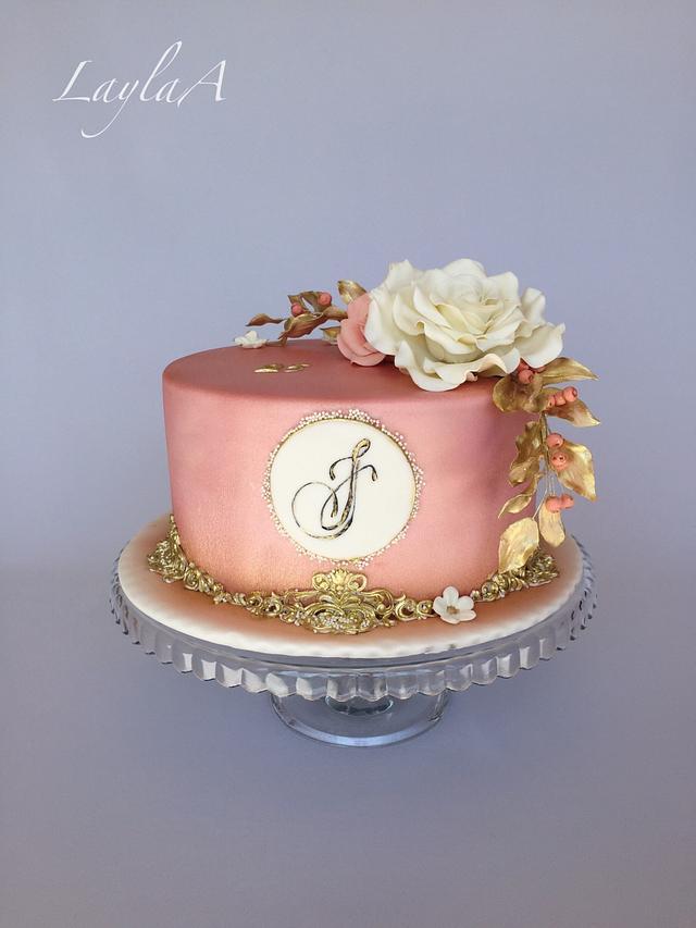 Marvelous Elegant Birthday Cake Cake By Layla A Cakesdecor Personalised Birthday Cards Veneteletsinfo