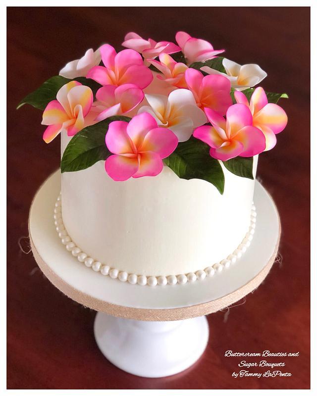 ~ Tropical Plumeria Wreath Cake ~