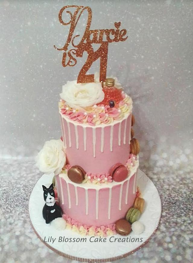 Magnificent Rose Gold 21St Birthday Cake Cake By Lily Blossom Cake Cakesdecor Personalised Birthday Cards Beptaeletsinfo