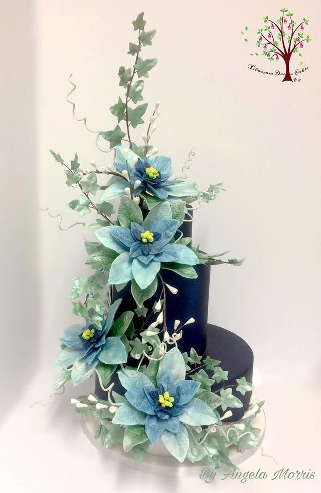 Winter Poinsettia Wedding Cake