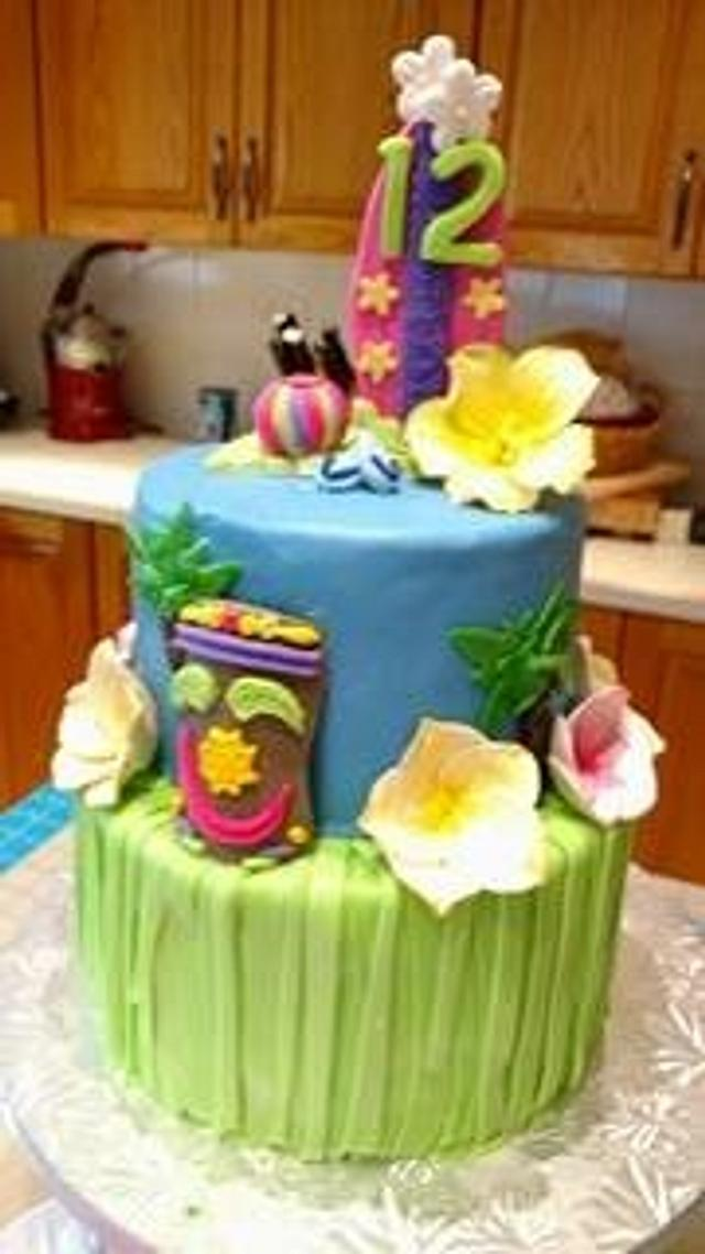 Awe Inspiring Luau Birthday Cake Cake By Cathryn Kiesewetter Cakesdecor Personalised Birthday Cards Cominlily Jamesorg