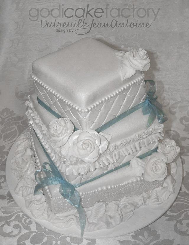 Vintage Square Wedding Cake By Dutreuilh Jean Antoine Cakesdecor
