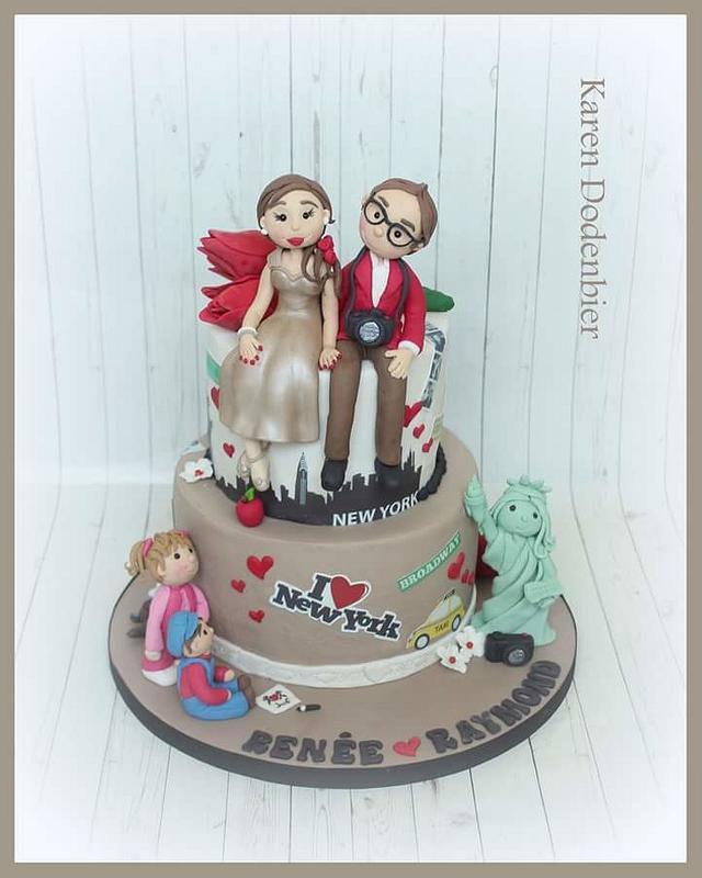 Small personalised wedding cake.
