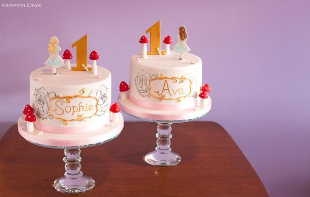 Surprising Alice Themed Twin Birthday Cakes Cake By Kasserina Cakesdecor Personalised Birthday Cards Veneteletsinfo