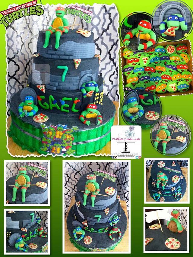 TURTLE NINJA CAKE AND CUPCAKES