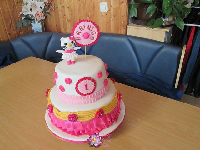 Marvelous Hello Kitty 1St Birthday Cake Cake By Mary Yogeswaran Cakesdecor Personalised Birthday Cards Veneteletsinfo