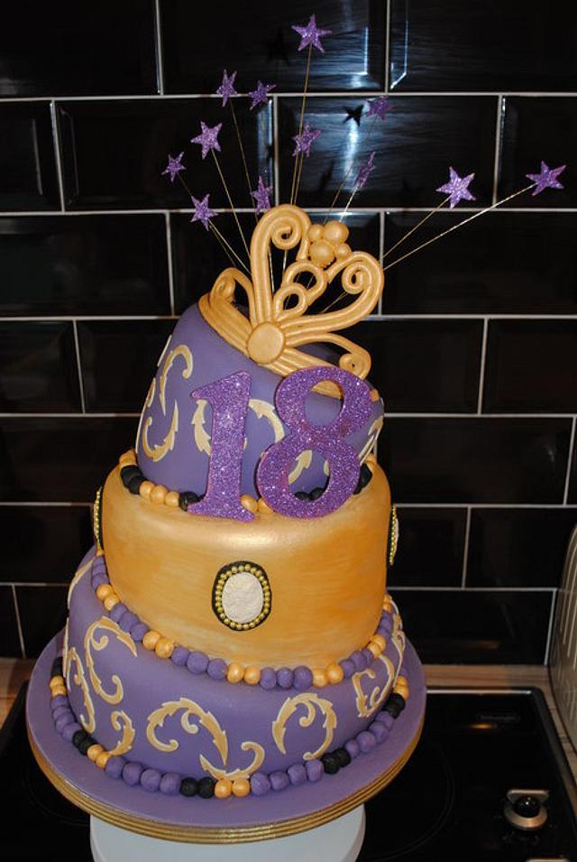 3 Tier Wonky 18th Cake with a Princess Tiara & Cameo's
