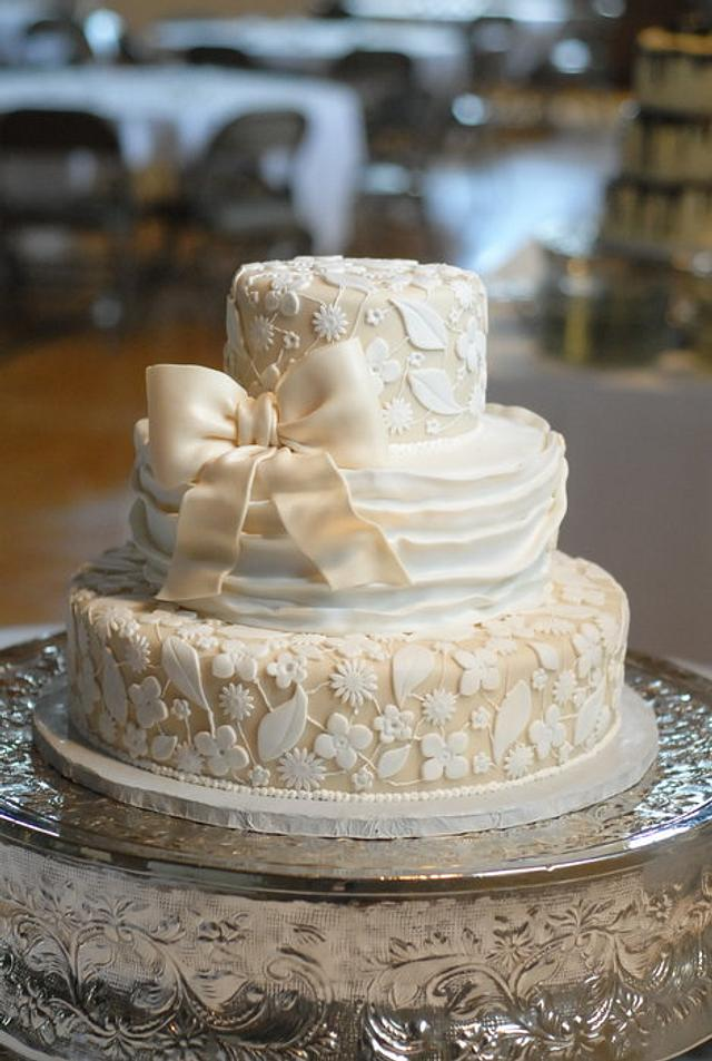 "Ivory and White Fondant ""Lace"" Overlay Wedding Cake"