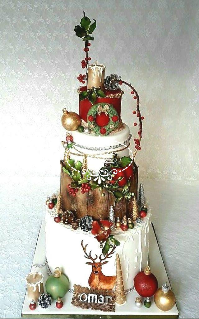 Terrific A Christmas Birthday Cake Cake By Fees Maison Ahmadi Cakesdecor Personalised Birthday Cards Veneteletsinfo