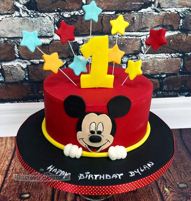 Marvelous Dylan Mickey Mouse First Birthday Cake Cake By Niamh Cakesdecor Birthday Cards Printable Trancafe Filternl