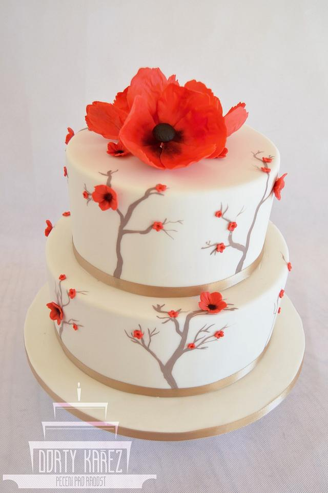 Wedding cake - hand painted - red flowers