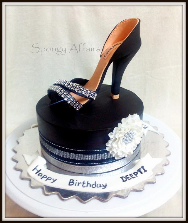 Fantastic Black Stiletto Cake Cake By Meenakshi Jamadagni Cakesdecor Funny Birthday Cards Online Kookostrdamsfinfo