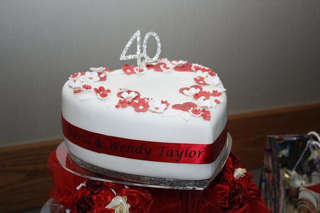 40th (Ruby) Wedding Anniversary Cake