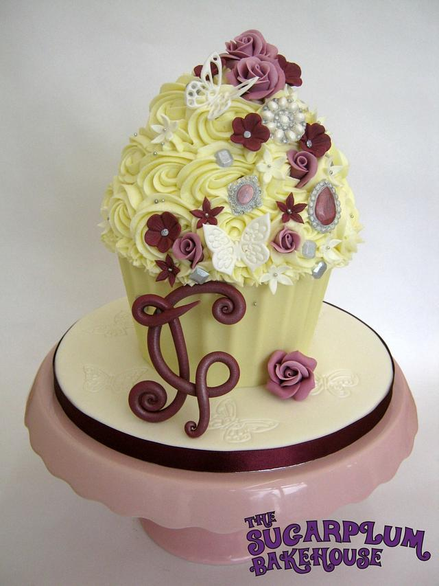 Roses & Brooches Giant Cupcake