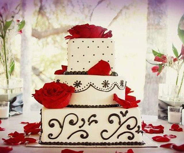 Red and Black wedding cake