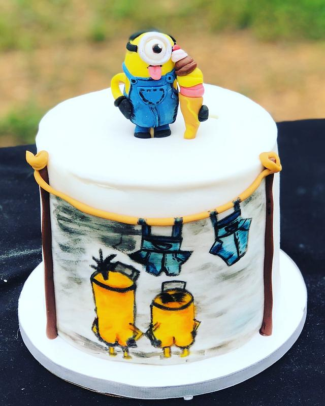 Astounding Minions Birthday Cake Cake By Tiffany Dumoulin Cakesdecor Funny Birthday Cards Online Barepcheapnameinfo