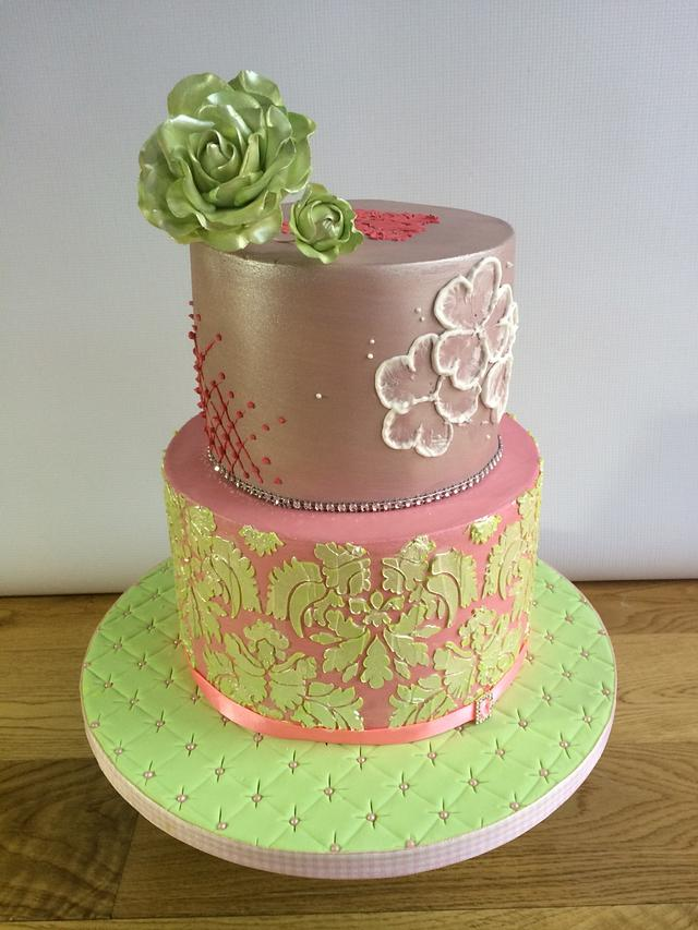 Groovy Pink And Green Birthday Cake Just A Small Nod To St Cakesdecor Funny Birthday Cards Online Alyptdamsfinfo