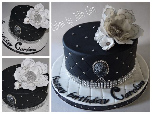 Pleasing Quilted Black Silver Birthday Cake Cake By Cakes By Cakesdecor Personalised Birthday Cards Epsylily Jamesorg