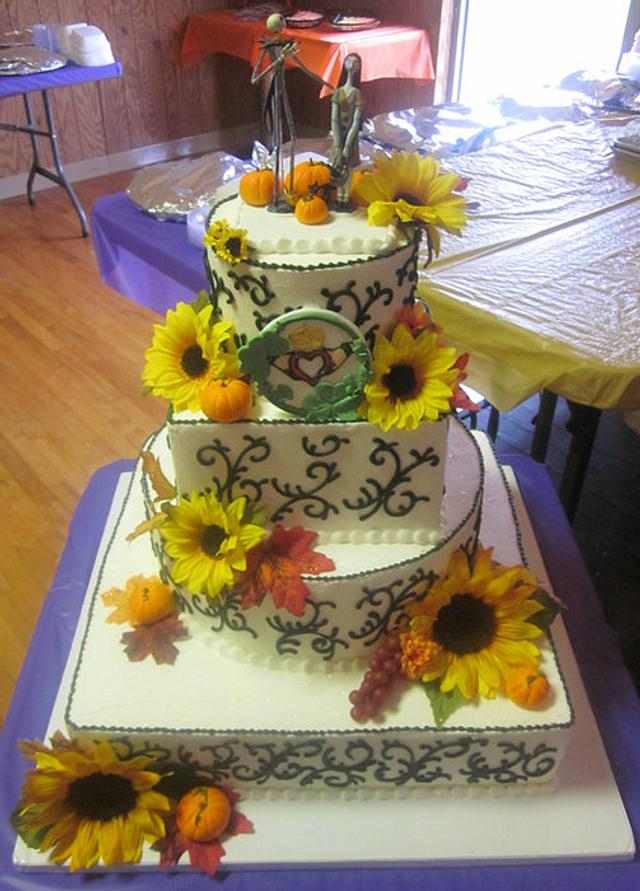 4 tier, Fall theme/ Jack and Sally topper