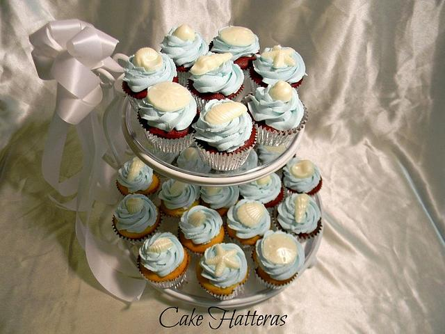 Icy Blue, Beach Wedding Cupcakes