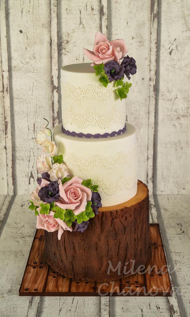 Woodland Flower Wedding Cake