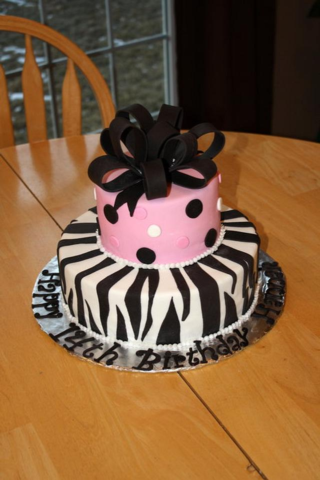 Happy 14th Birthday Zebra Cake