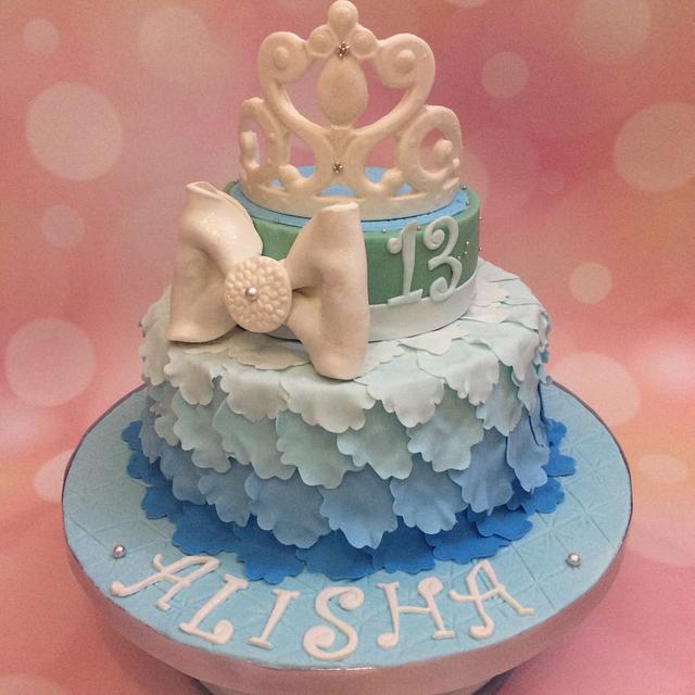 Blue Ombré Petal Cake