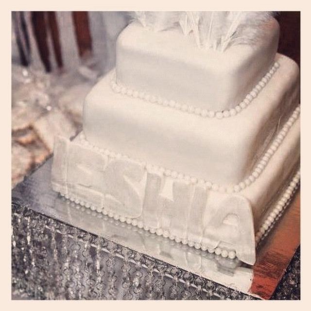 All White Birthday Cake w/Feathers