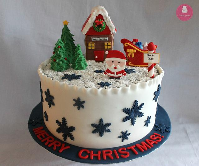 Terrific Christmas Themed Cake Cake By Sweet Shop Cakes Cakesdecor Funny Birthday Cards Online Eattedamsfinfo