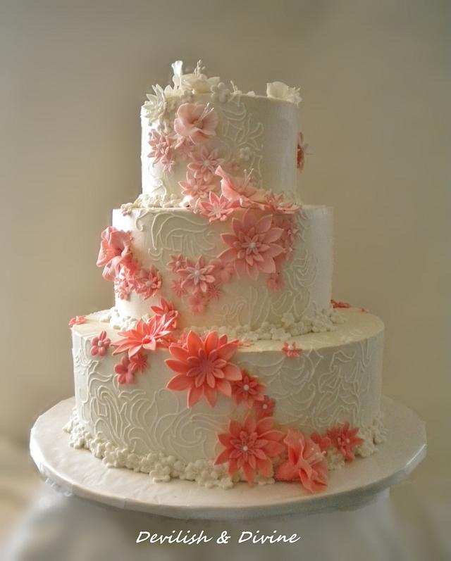 Coral Ombre Floral Wedding Cake