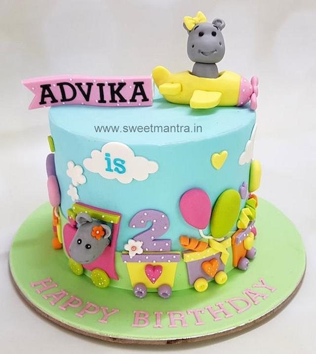 Surprising Hippo In Plane Theme Cake For Girls 2Nd Birthday Cake Cakesdecor Personalised Birthday Cards Akebfashionlily Jamesorg