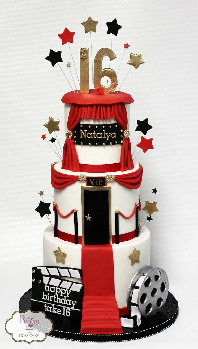 Superb Hollywood Sweet 16 Cake Cake By Peggy Does Cake Cakesdecor Funny Birthday Cards Online Overcheapnameinfo