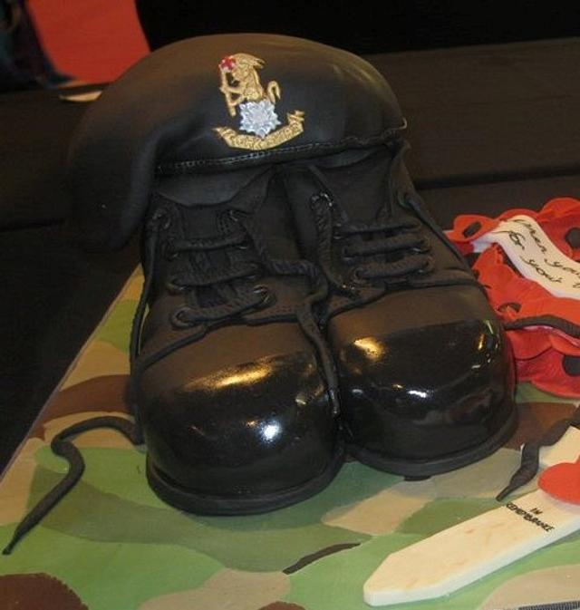 army boots and beret