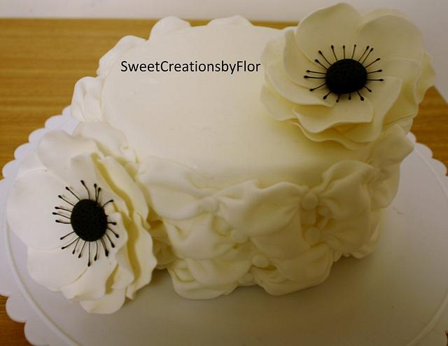 Billowing cake with Anemone flowers