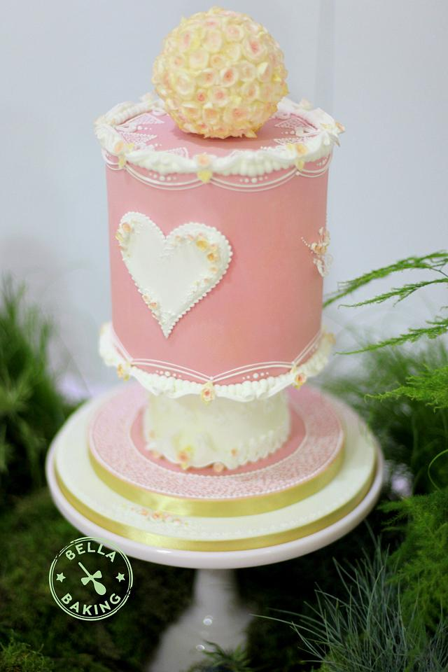 Hearts & Flowers Royal Iced Cake