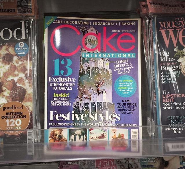 """""""Welcome home"""" winter wedding cake COVER of CI Magazine."""