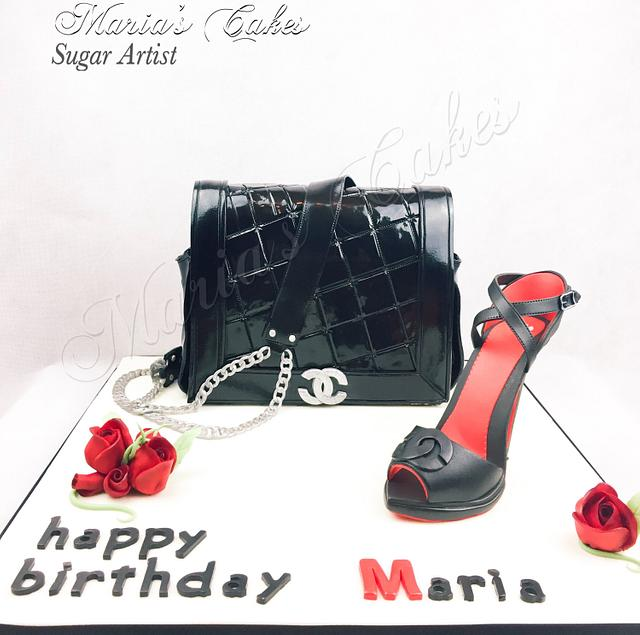 Coco Chanel bag and shoes cake