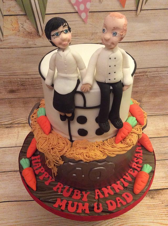 Chef and Waitress Ruby anniversary cake.