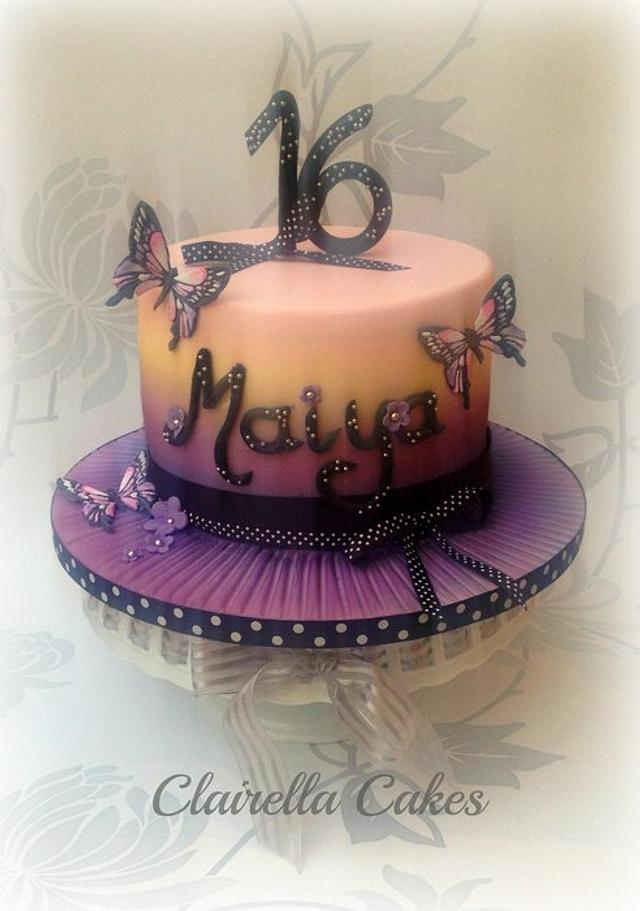 Sunset Butterfly Cake by Clairella Cakes