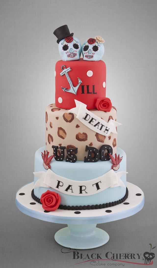 Rockabilly Sugar Skulls Wedding Cake