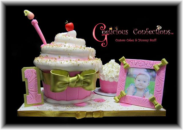Giant Pink & Gold Whimsical Cupcake Cake for Avery's 1st