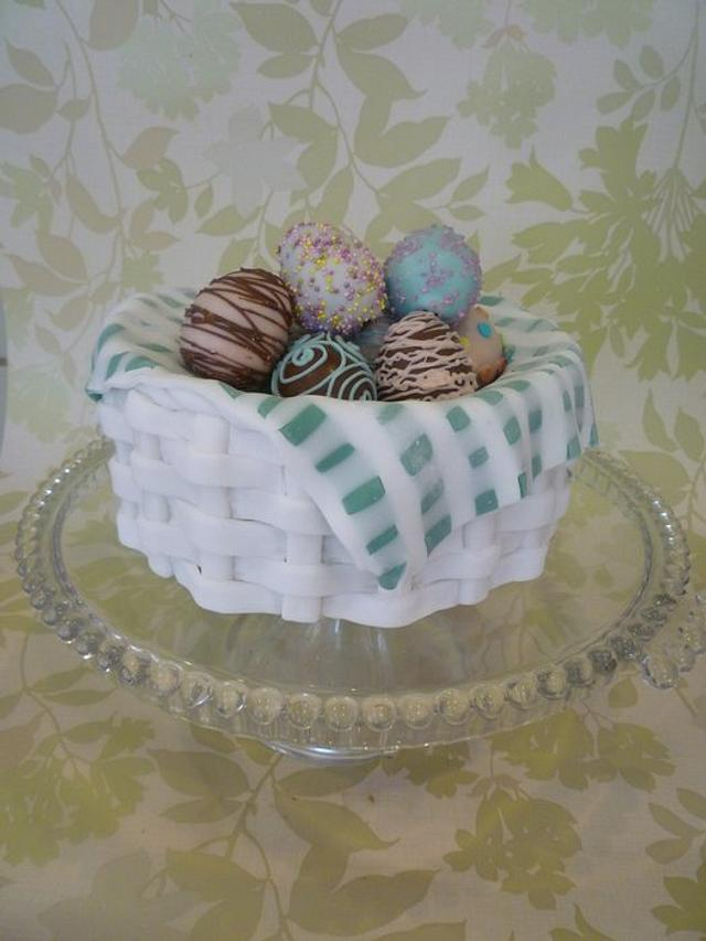 Traditional simnel cake basket with decorated cake pop eggs.
