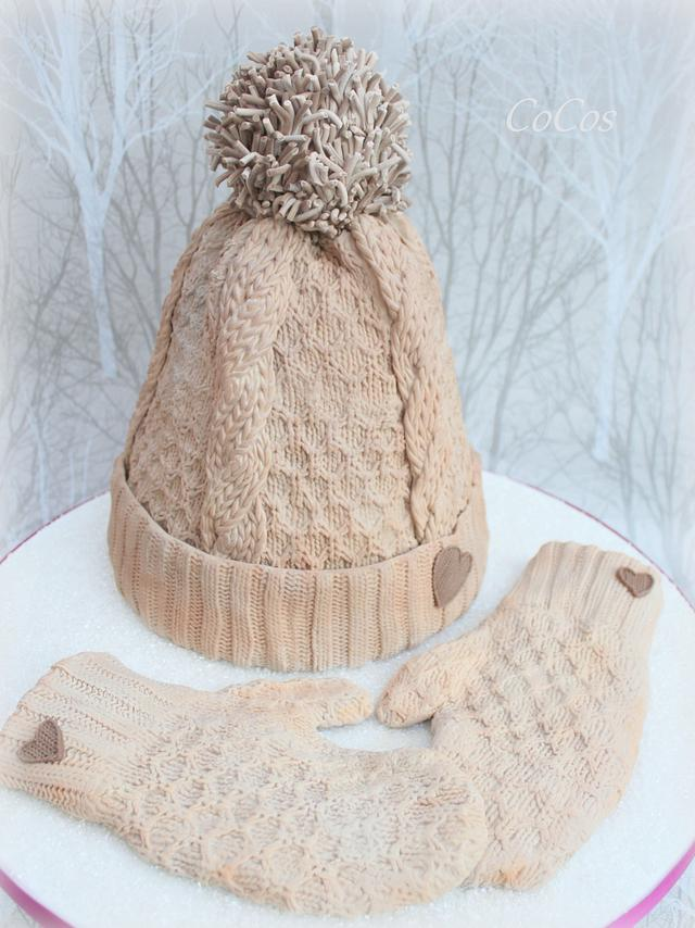 Winter wooly knitted bobble hat and mittens