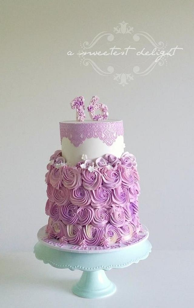 Purple lace and rosettes...