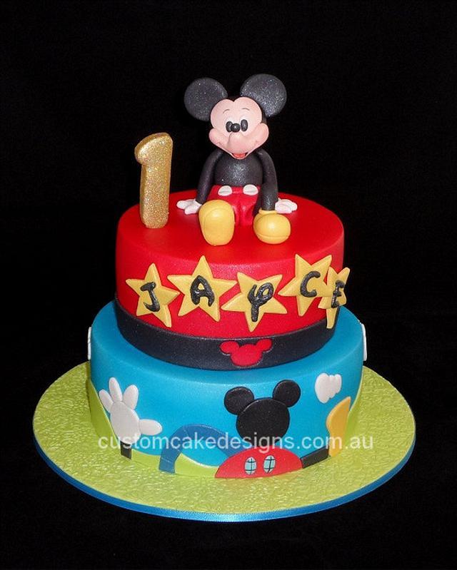 Groovy Mickey Mouse 1St Birthday Cake Cake By Custom Cake Cakesdecor Funny Birthday Cards Online Fluifree Goldxyz