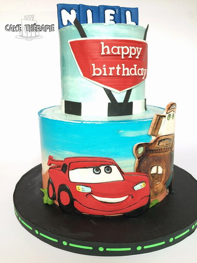 Cars themed cake. Lightening McQueen and Mater.