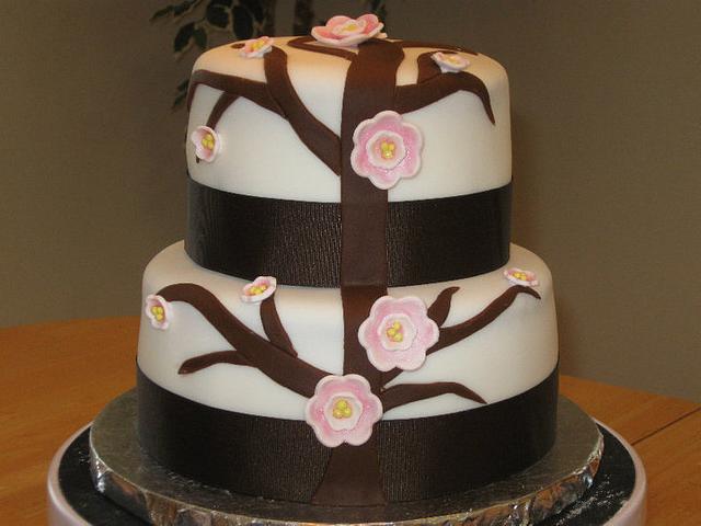 Cherry Blossom Bridal Shower Cake