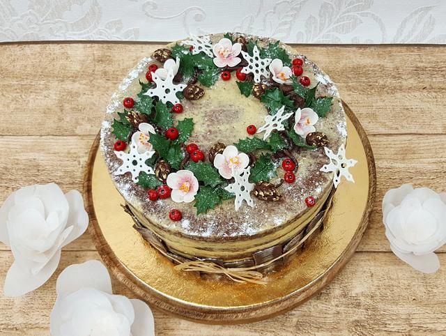 Flower Chrismas cake